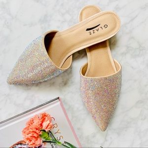 Shoes - ✨RESSTOCK!  Nude Rhinestone Pointed Mule Flats